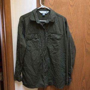 Green Old Navy Boyfriend Button Down Shirt